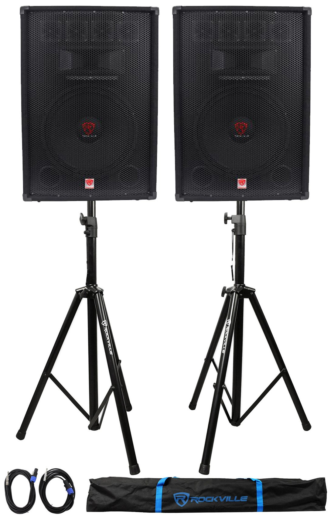 (2) Rockville RSG15.4 15 1500w Passive PA Speakers+2) Stands+2) Cables+Carry Case by Rockville