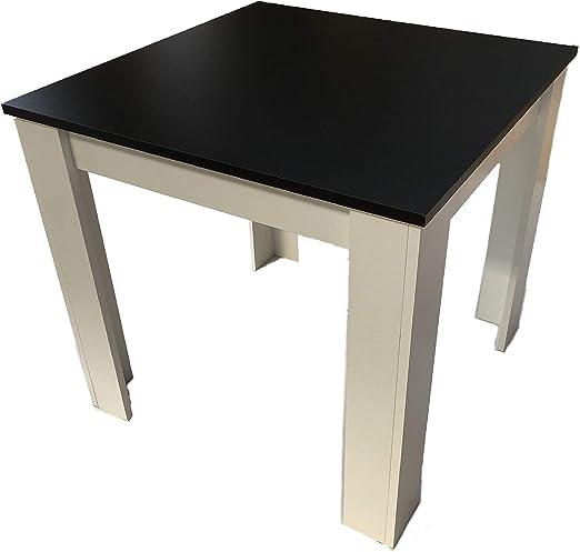 Möbel SD Dani Table de Salle à Manger Noir/Blanc 80 x 80 cm ...