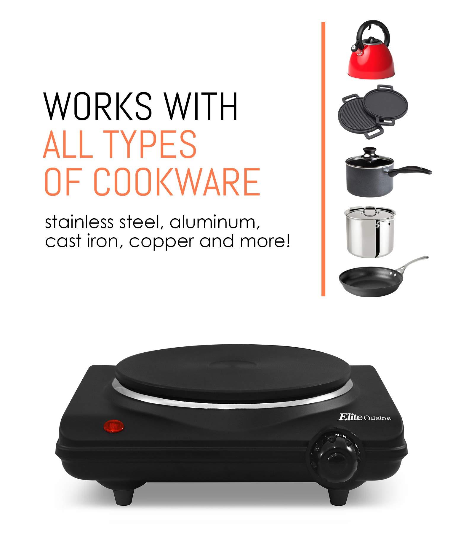 Powe Elite Cuisine ESB-301F Single Electric Flat Cast Iron Heating Plate Burner