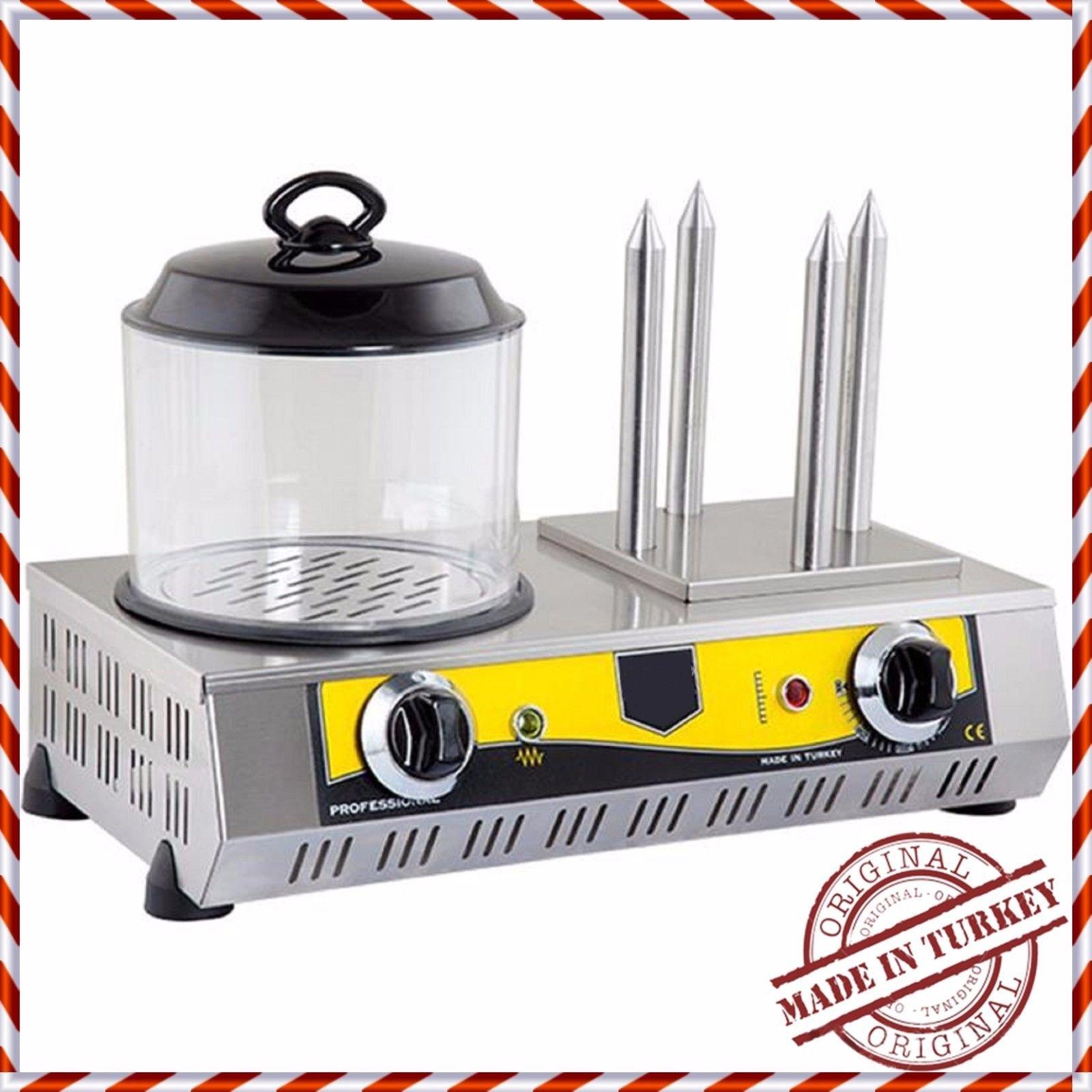 Commercial Kitchen Equipment PROFESSIONAL European-Style Hot Dog Steamer Cooker Hotdog Machine and 4 Bun Roller Warmer