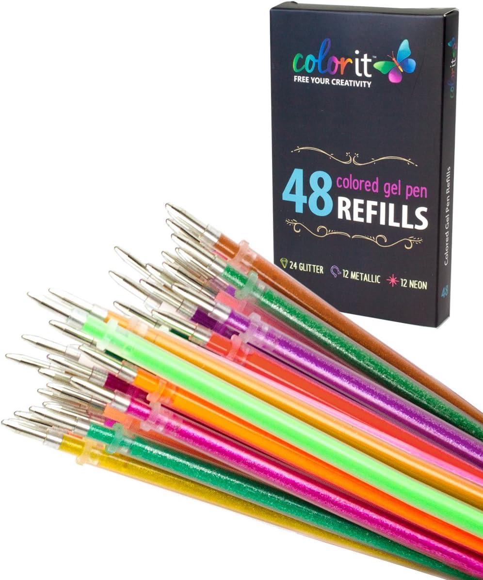 6x Neon Gel Pens Super Smooth Standout Writing Basic Instrument Kids School Pens