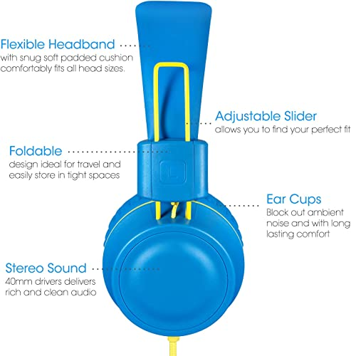 Kids Headphones-noot products K33 Foldable Stereo Tangle-Free 3.5mm Jack Wired Cord On-Ear Headset for Children Teens Boys Girls Smartphones School Kindle Airplane Travel Plane Tablet Electric Blue