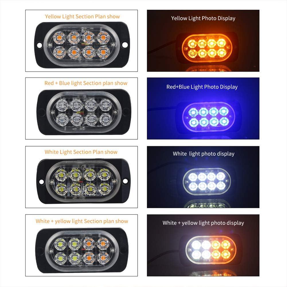elegantstunning 4PCS LED Flash Light Ultra-Thin 8LED Side Light 12-24v Truck Door Warning Light White Blue