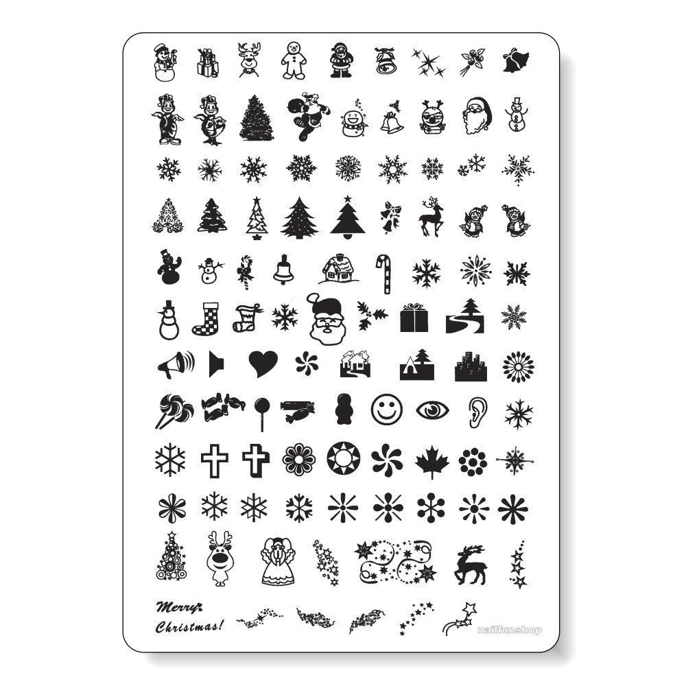 MAXI Stamping Schablone nfxmas01 - Weihnachten Christmas XMAS mit Eiskristallen, Glocken, Weihnachtsmännern, Tannenbäume usw. Weihnachtsmännern Tannenbäume usw. NAILFUN ®