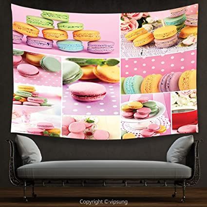 Amazon.com: House Decor Tapestry Colorful Collage of Tasty Macaroons ...