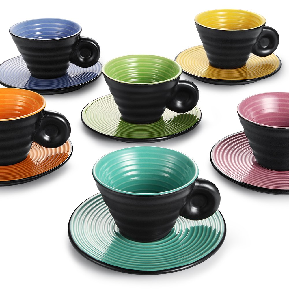 Hoomeet Ceramic Espresso Cups and Saucers,Set of 6, with Embossed Swirling Lines, 2.5oz, 6 Candy Colors Assorted