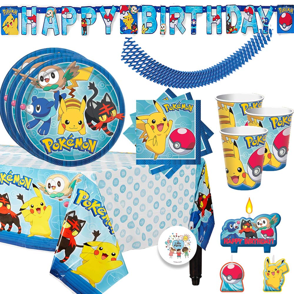 Pokemon Birthday Party Supplies Pack For 16 Guests With Plates, Beverage Napkins, Tablecover, Candles, Cups, Birthday Banner, Plus Exclusive Pin By Another Dream by Another Dream
