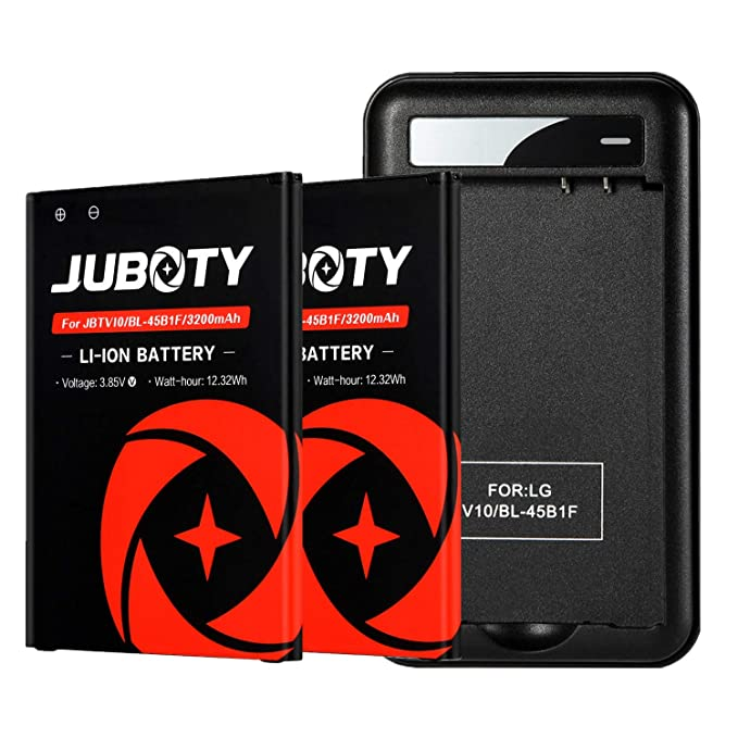 LG V10 Battery,JUBOTY 2X 3200mAh Replacement LG BL-45B1F Battery with  Battery Charger for LG V10 H960A H900 H901 VS990 LS992/LG V10 Battery  Charger