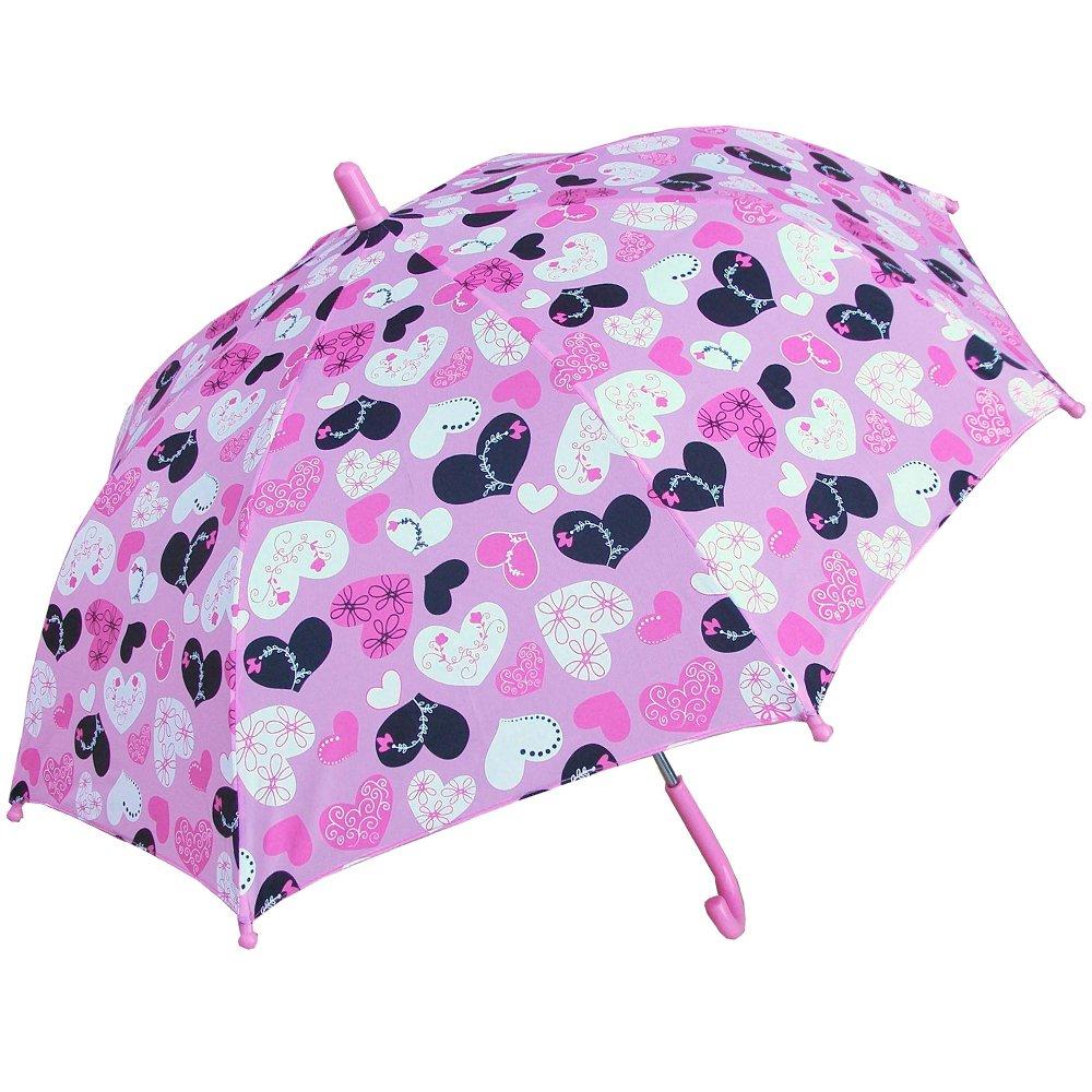 RainStoppers Girl's Crazy Heart Print Umbrella, 34-Inch