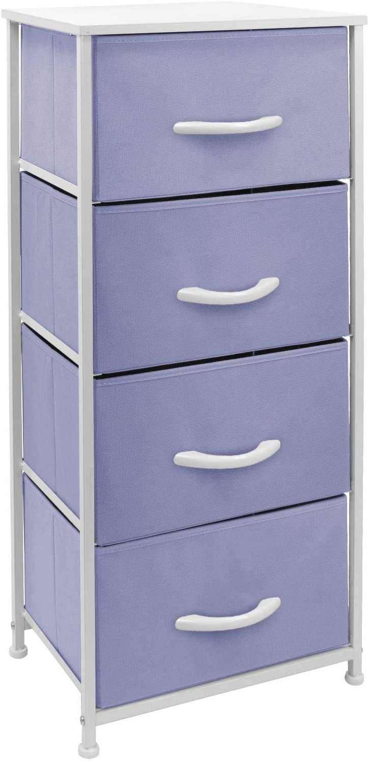 Sorbus Dresser Nightstand with 4 Drawers - Bedside Furniture & Accent End Table Chest for Home, Bedroom Accessories, Office, College Dorm, Steel Frame, Wood Top, Easy Pull Fabric Bins (Pastel Purple)