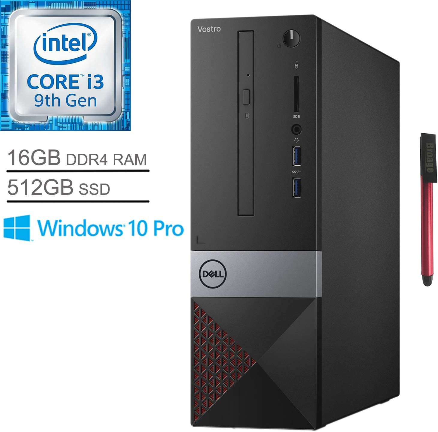 Dell Vostro 3471 Business Small Desktop Computer, Intel Quad-Core i3 9100 Up to 4.2GHz (Beats i5-7400), 16GB DDR4 RAM, 512GB SSD, DVDRW, WiFi, Bluetooth, HDMI, Windows 10 Pro, BROAGE 64GB Flash Stylus