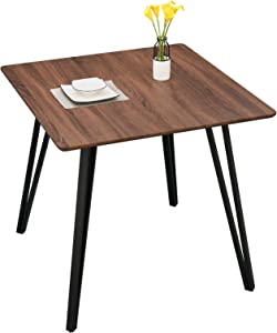 GreenForest 31.5'' Dining Table Small Square Kitchen Room Table Modern Industrial Wooden Leisure Coffee Table with Solid Metal Legs for Living Room Computer Desk, Walnut