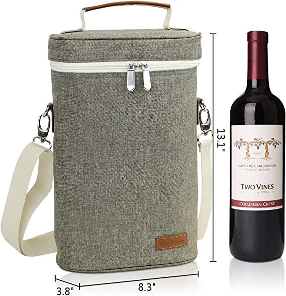 Premium Insulated 2 Bottle Wine Carrier Padded Wine Cooler Carrying Bag For Travel Hcgray Wine Tote