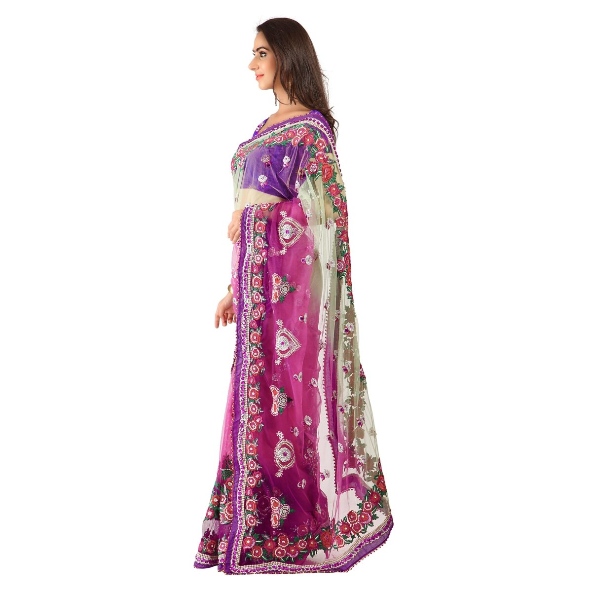 Triveni Women's Indian Pink Net Embroidered Sarees by Triveni (Image #2)