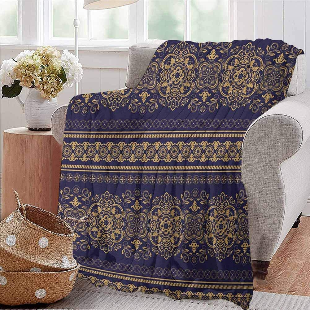 Luoiaax Turkish Pattern Children's Blanket Damask Style Medieval Flowers with Rich Details Horizontal Borders Lightweight Soft Warm and Comfortable W70 x L90 Inch Indigo Pale Amber