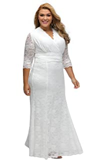 da22a0708ec myfeel Women Plus Size Maxi Length Sleeves Lace Dress Event Gowns at ...