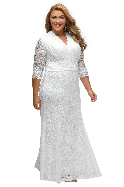 XAKALAKA Women's V-neck 3/4 Sleeve Plus Size Lace Wedding Cocktail Dress size L (White)