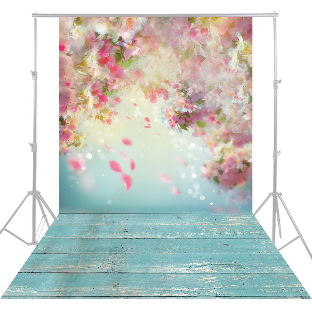 HUAYI 5x10ft Flower wall pink Photography Backgrounds Newborn Photo Studio Green Wood Floor YJ-192 by HUAYI
