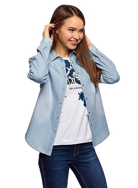 d36eb65dd oodji Ultra Mujer Camisa Vaquera con Botones a Presión: Amazon.es: Ropa y  accesorios