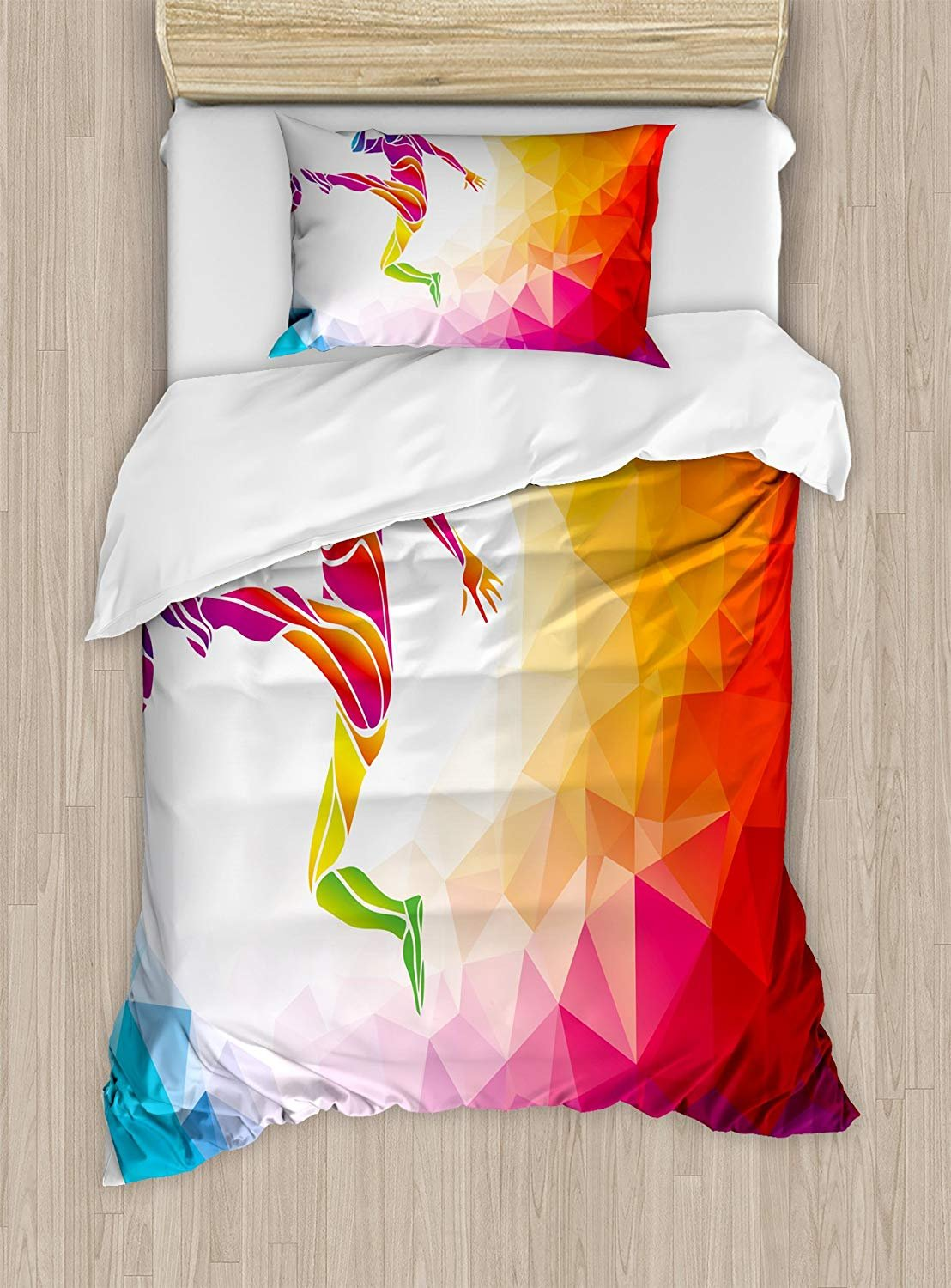 Teen Room Duvet Cover Set,Fractal Soccer Player Hitting the Ball Polygonal Abstract Artful Illustration,Cosy House Collection 4 Piece Bedding Sets