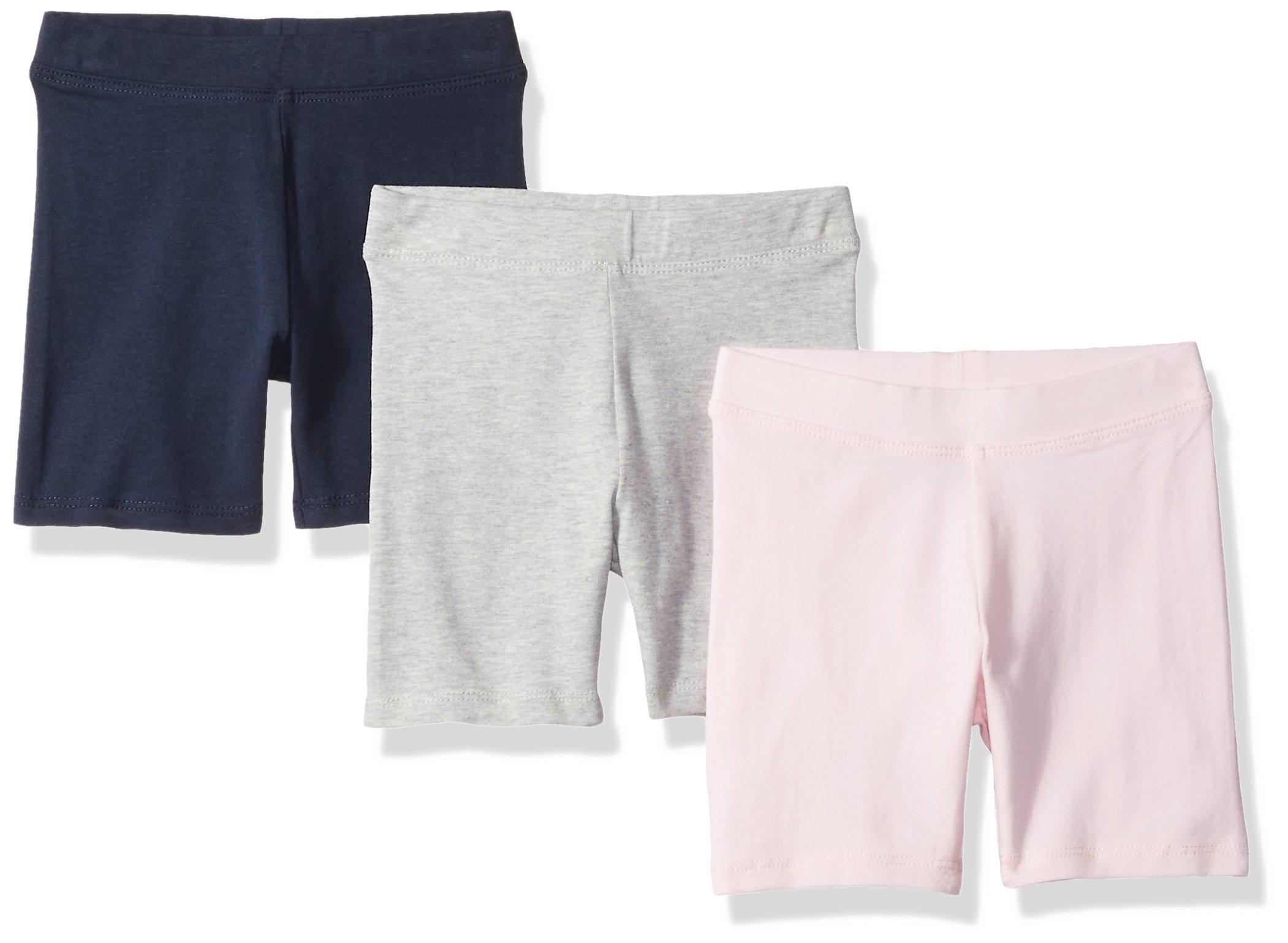 Amazon Essentials Girls' 3-Pack Cart-Wheel Short, Navy/Heather Grey/Light Pink, XS (5)
