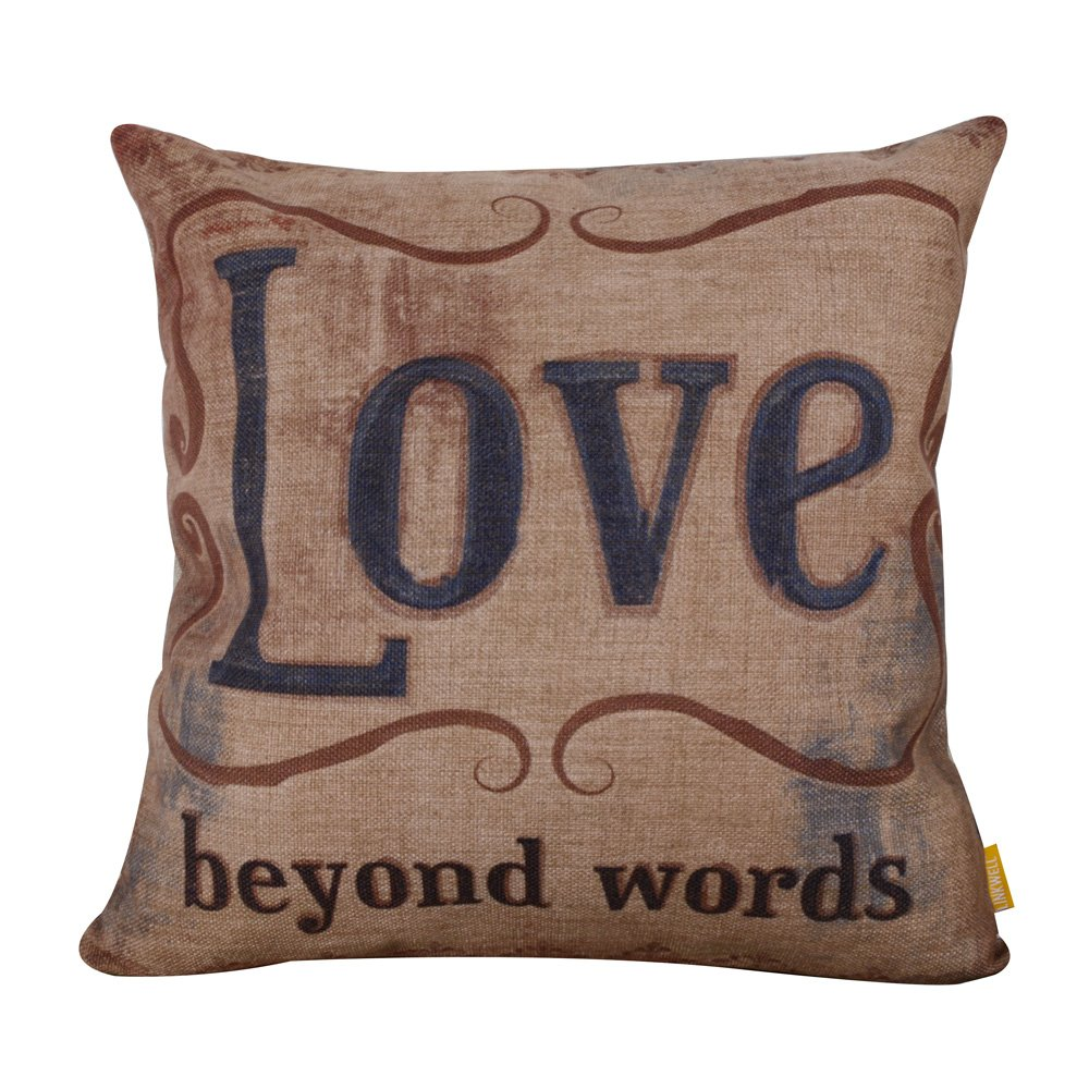 LINKWELL 18''x18'' Vintage Love Beyond Words Laugh Every Day Burlap Cushion Covers Pillow Case by LINKWELL