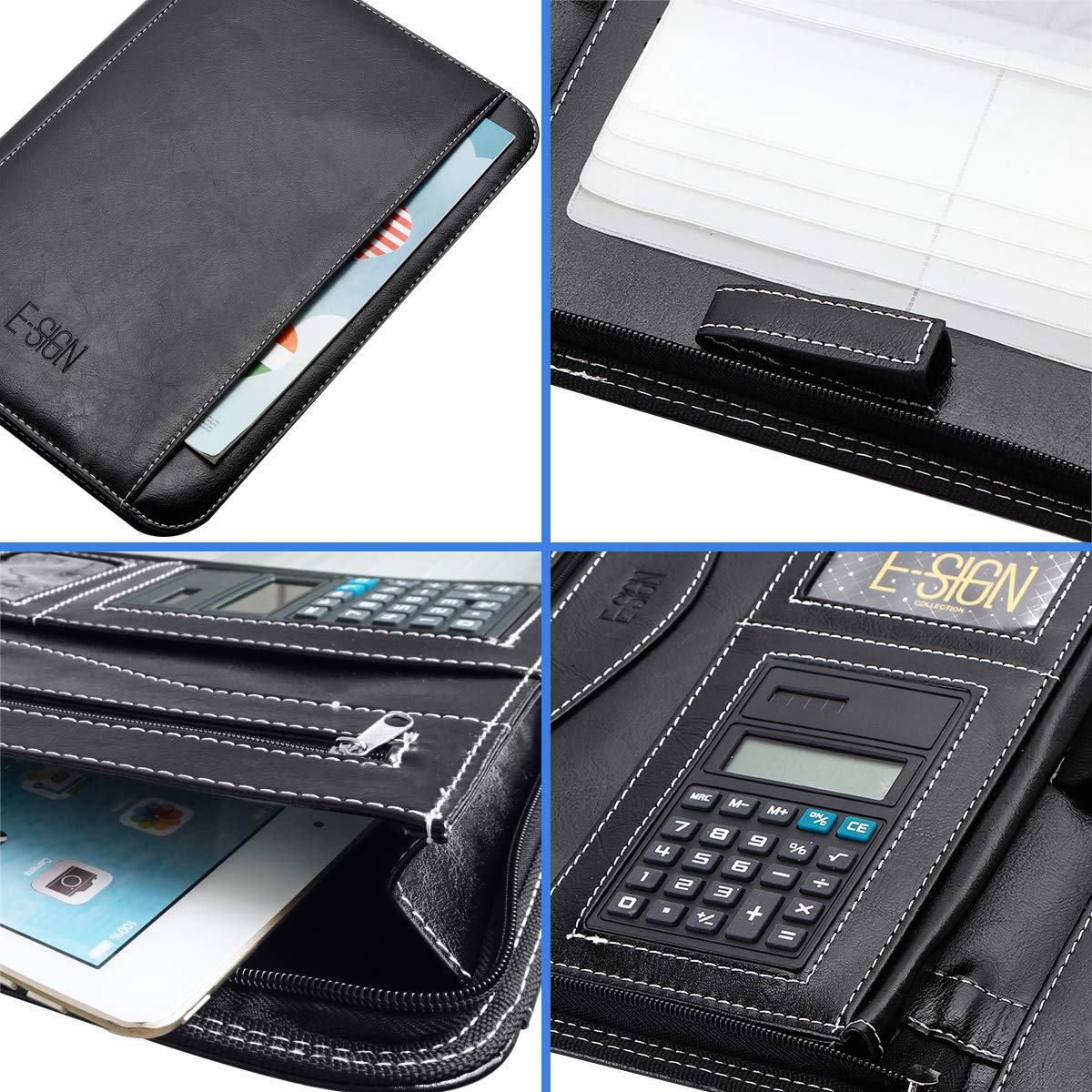 IVESIGN PU Leather Business Padfolio Portfolio with Calculator and Writing Pad, Professional Interview Padfolio with Zippered Closure, Interior 10.1 Inch Tablet Sleeve (Black)