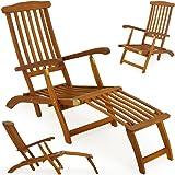 """Chaise longue - transat pliable en bois d'acacia bain de soleil """"Queen Mary"""""""