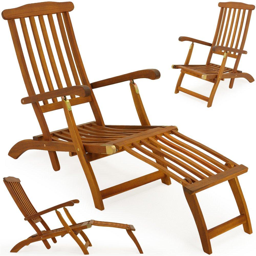 Charmant Garden Lounger Sun Lounger Wooden Outdoor Recliner Queen Mary Longchair  Acacia Deck Chair Sunbed: Amazon.co.uk: Garden U0026 Outdoors