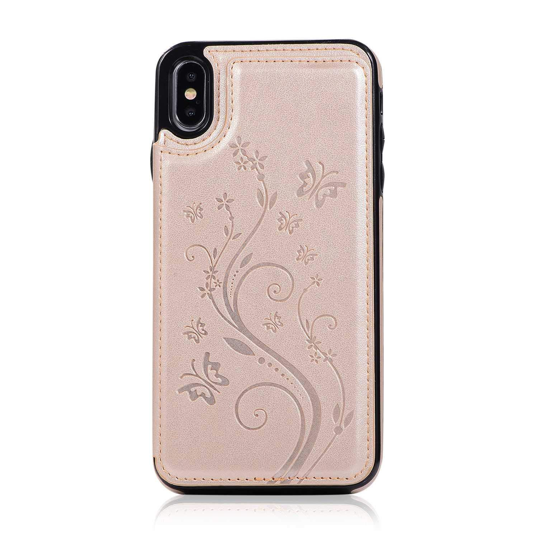 Coque iPhone XS Max, SONWO Etui en Cuir de PU Flip Wallet Cover Housse avec Fentes pour Cartes et Stand Fonction pour Apple iPhone XS Max, Or