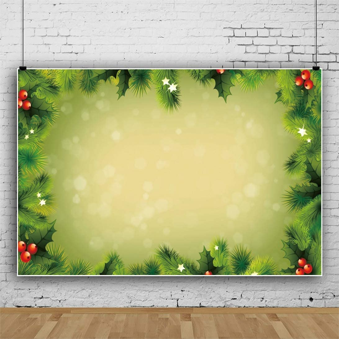 Merry Christmas Backdrop 8x6.5ft Happy New Year Photography Background Green Xmas Tree Frame Blur Bokehs Stars Fir Pine Leaves New Year Holiday Party Baby Kids Family Photo Prop Wallpaper