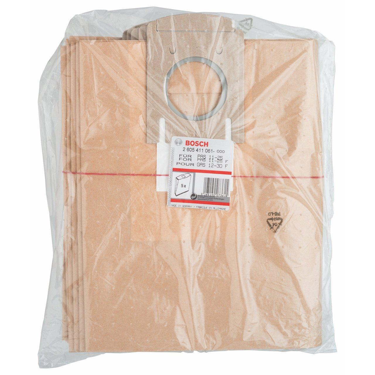 5 Piece Bosch 2605411061 Paper Filter Bag for Bosch Extractors