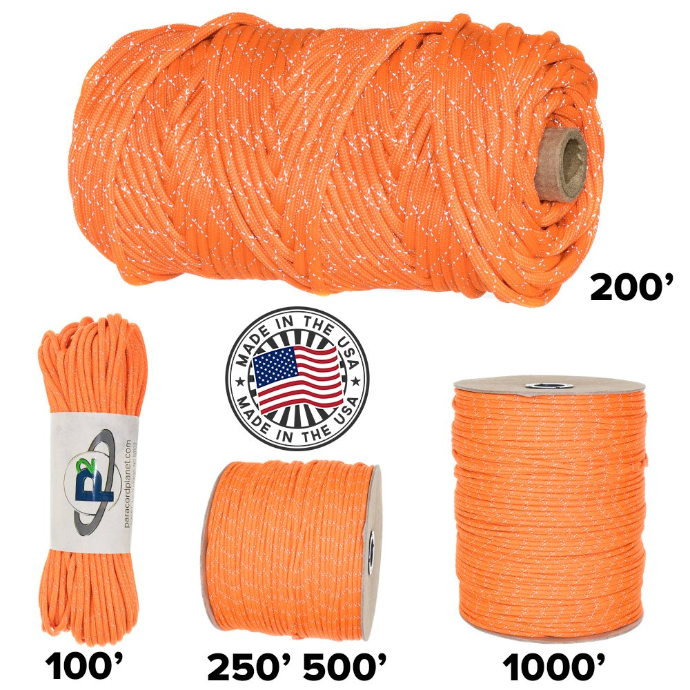 Paracord Planet 700lb Criss Cross Double-Reflective Paracord - 2 Bright Retro-Reflective Tracers for the Best in High-Visibility Cord - 100% Nylon Cord is Made in the USA by PARACORD PLANET (Image #1)
