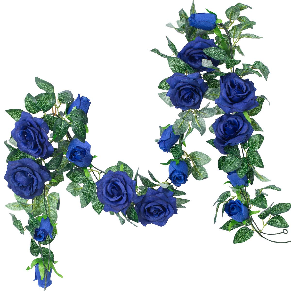 PARTY JOY 6.5Ft Artificial Rose Vine Silk Flower Garland Hanging Baskets Plants Home Outdoor Wedding Arch Garden Wall Decor,2PCS (Royal Blue)