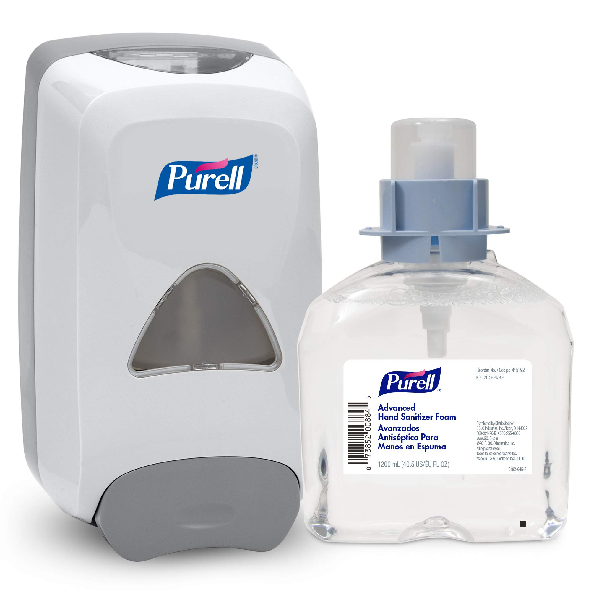 PURELL Advanced Hand Sanitizer Foam FMX-12 Starter Kit, 1 - 1200 mL Advanced Hand Sanitizer Foam Refill + 1 - PURELL FMX-12 Dove Grey Push-Style Dispenser – 5192-D1 by Purell (Image #1)
