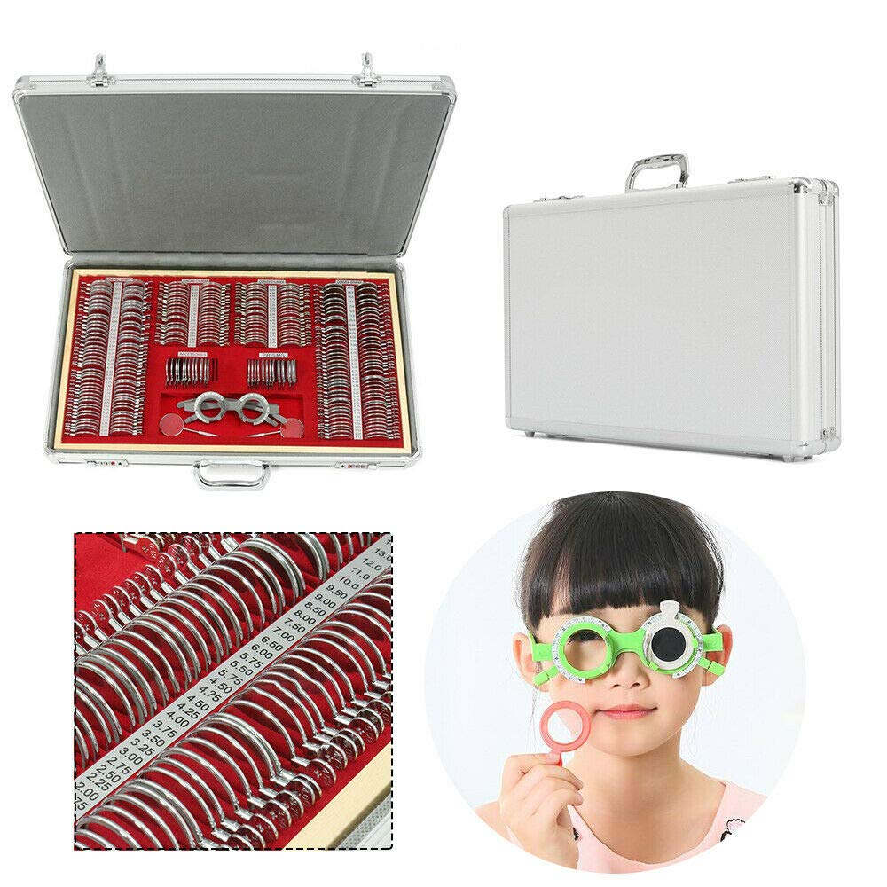 266 pcs Optical Trial Lens Set Kit Metal Rim Aluminum Case Optometry Rim Case Tool Kit with Trial Frame