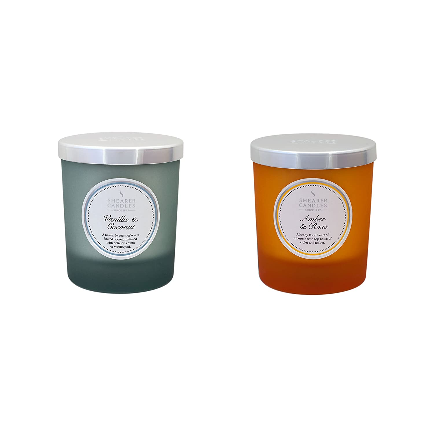 Shearer Candles Scented Twin Pack-Vanilla & Coconut, Amber & Rose, Wax, Assorted, 24 x 13 x 12 cm ZZ0057