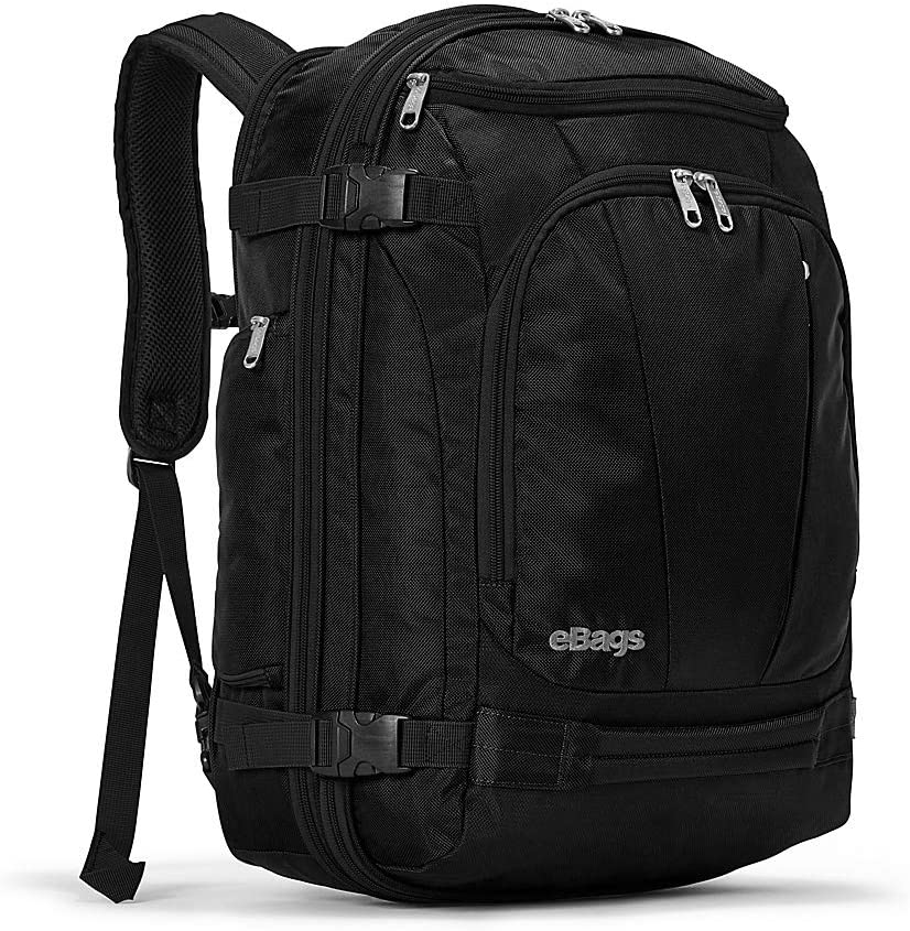eBags TLS Mother Lode Weekender Junior 19 Inch Carry-On Travel Backpack - Fits Up to 17.5 Inch Laptop - (Solid Black)