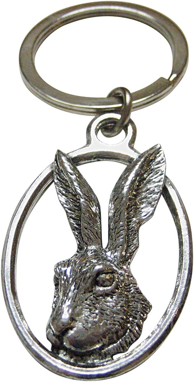 Hare Rabbit Oval Key Chain