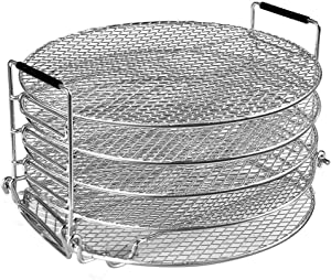 Food Dehydrator Stand Racks for Air Fryer, Pressure Cooker, Oven and Ninja Foodi 6.5 & 8 qt, Food Grade Stainless Steel Drying Rack Stacker Trays