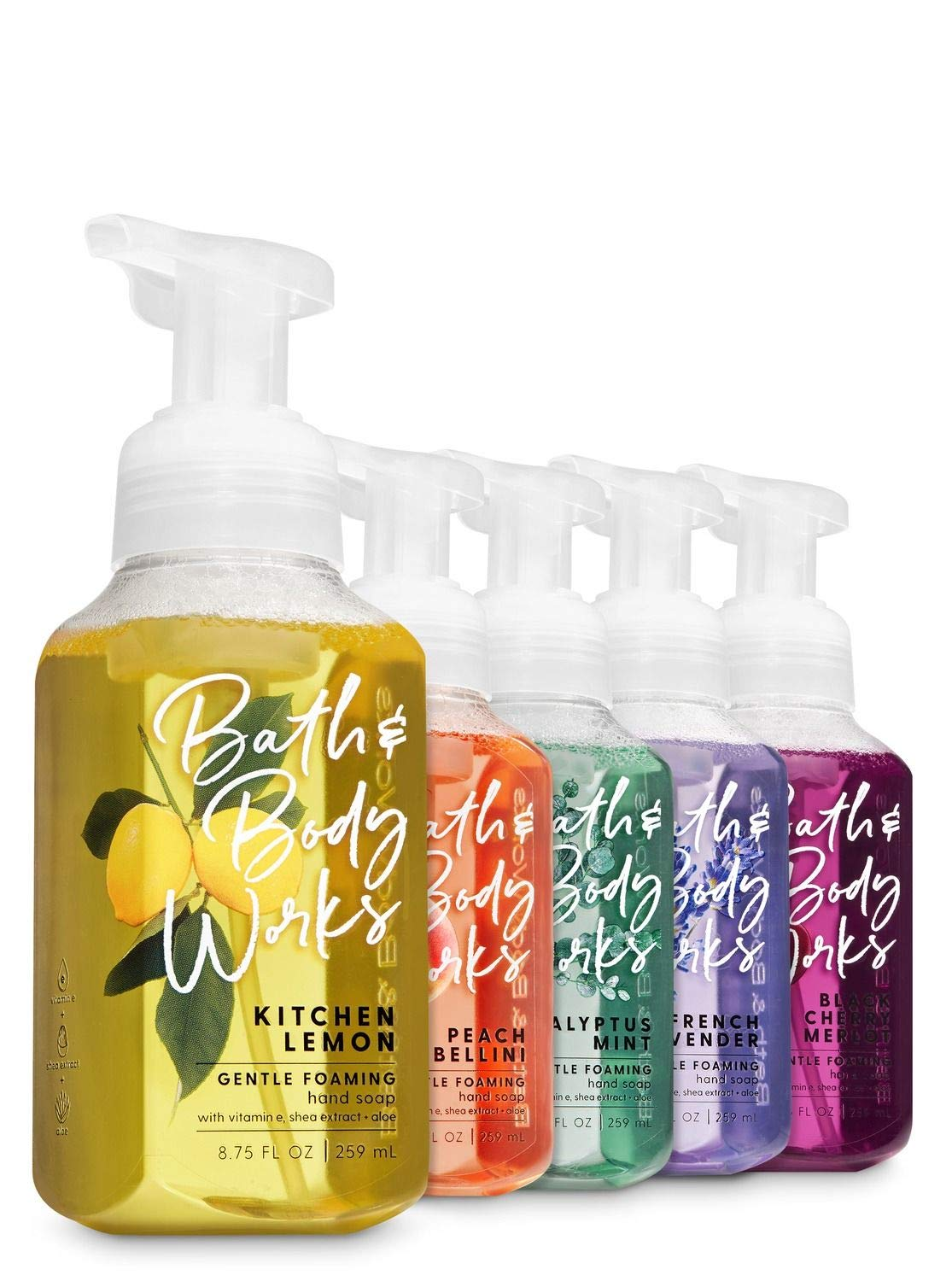 Bath and Body Works Classic Kitchen Favorites - Set of 5 Foaming Hand Soaps - Black Cherry Merlot, Kitchen Lemon, Eucalyptus Mint, Peach Bellini, and French Lavender