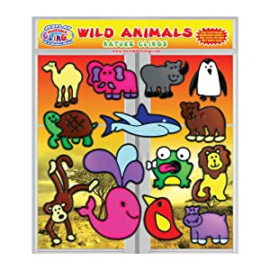 Wild Animal Gel Clings for Kids, Toddler, Boys and Girls - 3D Reusable Decorative Window Clings for Home, Planes, or for Teachers, Classrooms - Wildlife, Monkey, Turtle, Lion, Bear, Shark, and More