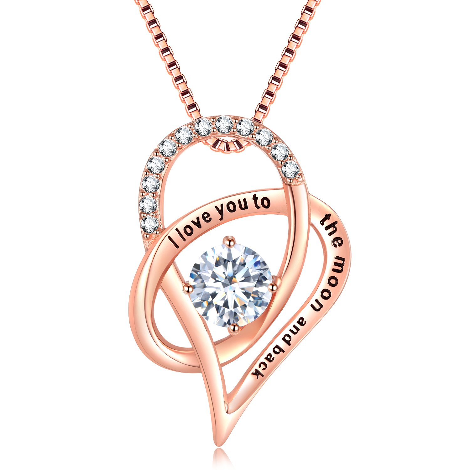SOMEN TUNGSTEN 925 Sterling Silver Rose Gold I Love You to The Moon and Back Necklace Cubic Zirconia Heart Pendant