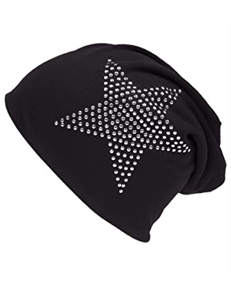 b7bde587e62 shenky Unisex Jersey Beanie Hat with Sequin Stars - Long Slouch for Spring  Summer - Black  Amazon.co.uk  Clothing