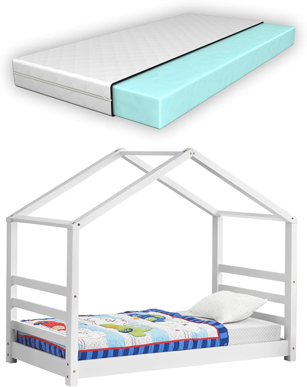 Kinderbett Matratze mit Lattenrost und Gitter 70x140cm Hausbett Holz Bettenhaus Bett Jugendbett en.casa