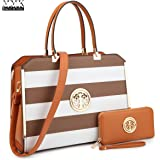 MMK Collection Medium Size Water Wash Vegan Leather Young Lady/Women Briefcase Style Satchel with Matching Color Wallet
