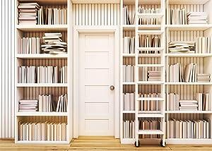 LYWYGG 10x8FT Office Bookshelf Library Background Bookshelves Video Backdrop Bookshelf Photography Studio Props CP-260-1008