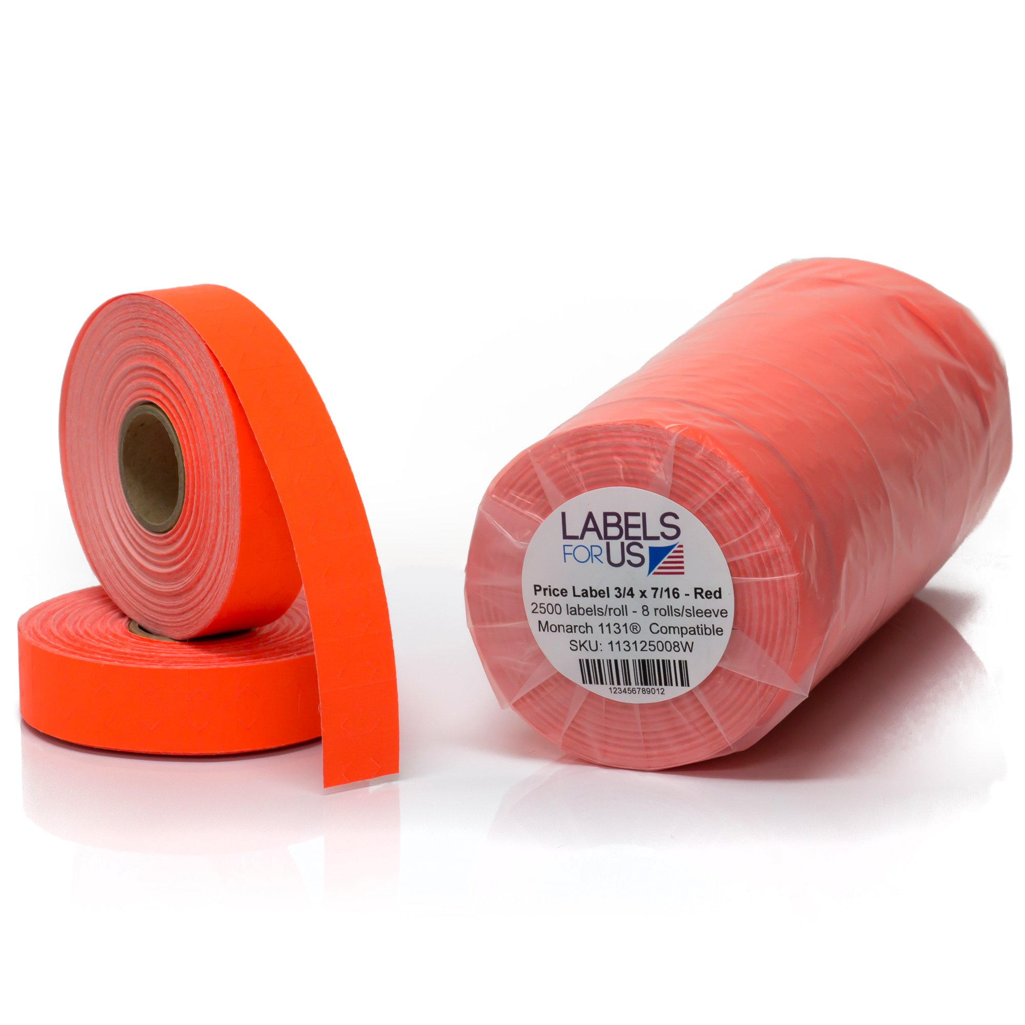 Monarch 1131 Compatible Labels - Fluorescent Red - 20,000 Labels - Pack with 8 rolls - Labels for Us by Labels for Us (Image #1)