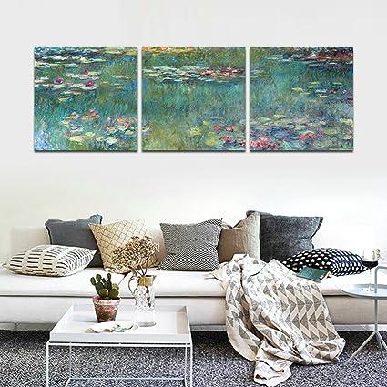 CrmArt   3 Panels Landscape Wall Art   Aquatic Plants   Canvas Art Home  Decoration