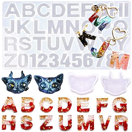 Porpor Booya Resin Molds Letters Large Silicone Molds For Resin With 2 Small Cat Keychain Molds Jewelry Resin Casting Molds Alphabet Diy Crafting Amazon In Home Kitchen